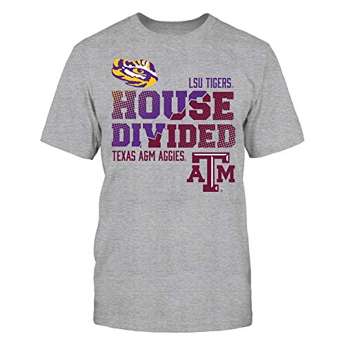 FanPrint Official Sports Apparel Men's Premium Cotton T-Shirt LSU Tigers LSU Vs Texas A&M : House Divided, Size S, Grey
