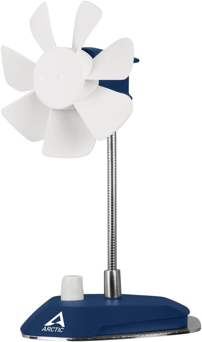 ARCTIC Breeze - Ventilador de Mesa USB con Cuello Flexible y Velocidad Ajustable, Ventilador Portátil para Casa, Oficina, Ventilador USB Silencioso, Velocidad del Ventilador 800-1800 RPM - Azul Oscuro