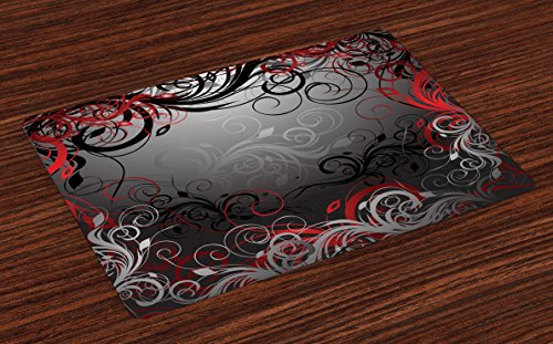Lunarable Red and Black Place Mats Set of 4, Mystic Magical Forest Inspired Floral Swirls Leaves Nature Artwork, Washable Fabric Placemats for Dining Room Kitchen Table Decoration, Charcoal Grey Ruby