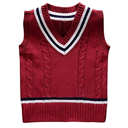 Baby Boys Toddler V-Neck Solid Color Cable Knit Pullover Sweater Vest (2-3 Years, Red)