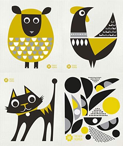 Trendy Tripper Reusable Swedish Dishcloths, Jenn Ski Modern Designs in Dark Yellow - Set of 4 Different: ()