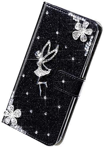 Herbests Kompatibel mit Samsung Galaxy Note 10 Plus Hülle Leder Handyhülle Mädchen Diamant Bling Strass Glitzer Blumen Handytasche Flip Case Brieftasche Klapphülle Schutzhülle Magnet,Schwarz