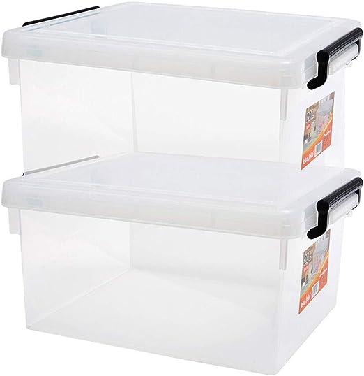 SUDU Caja de almacenamiento de plástico con tapas Juego de 2 Caja de almacenamiento transparente reforzada de plástico Caja de almacenamiento de bocadillos de juguete Juego de 2 piezas Caja de almacen: