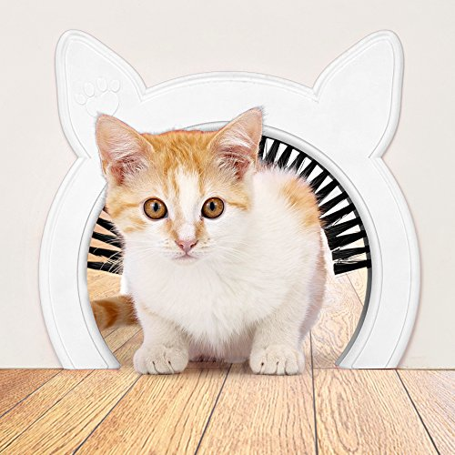 Interior Cat Door (Pink or White) with Clip-on Removable Grooming Brush | Scratches Back Collects Fur | Hides Litter Box from Little Kids and Dog | Internal Hole 6