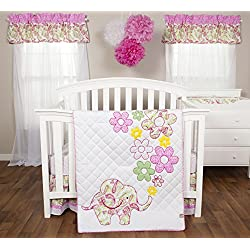 Trend Lab 3 Piece Crib Bedding Set, Elephant Flower for girls
