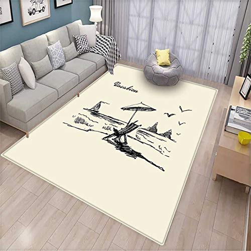 Beach Girls Bedroom Rug Hand Drawn Vacation Doodle Sketch Style with Rock Formations Boat and Birds Seaside Bath Mats for Floors Beige Black