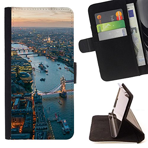 Graphic4You London Aerial View Postcard Design Thin Wallet Card Holder Leather Case Cover for Samsung Galaxy J3 Emerge / Galaxy J3 Prime / Galaxy J3 Eclipse