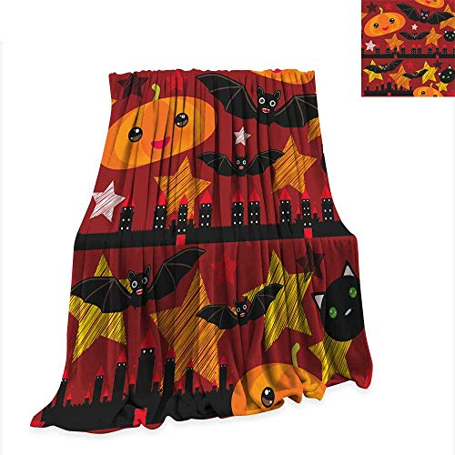 Summer Quilt Comforter Halloween Seamless Pattern with Castle Pumpkin Stars Bats Night Sky Black Yellow Orange red Burgundy Vector 70