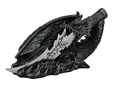 Saurian Athame Decorative Dragon Fantasy Knife with Hand Painted Holder