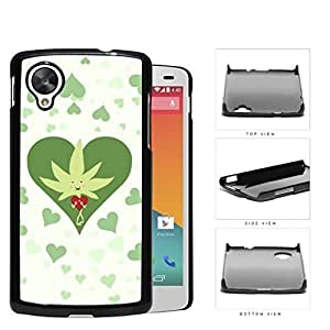Weed Leaf Valentine And Green Hearts Hard Plastic Snap On Cell Phone Case LG Nexus 5 by supermalls