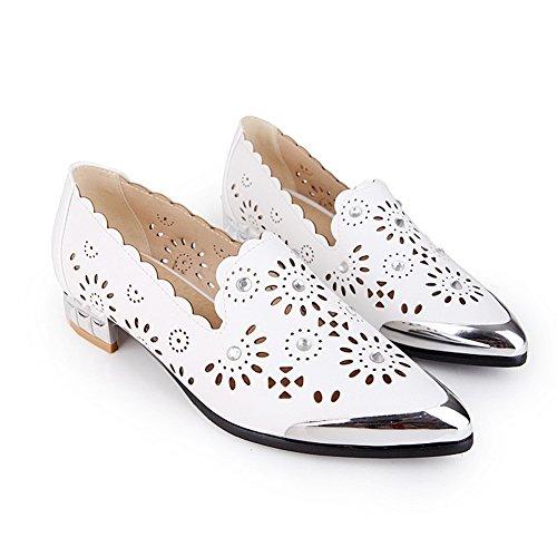 Balamasa Mujeres Winkle Pinker Tallado Flor De Vidrio Diamante Imitado Cuero Bombas-zapatos Blanco