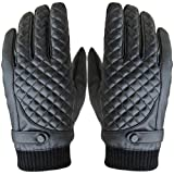 ABC® Mens Winter Sports Motorcycle Thermal Leather Touch Screen Gloves