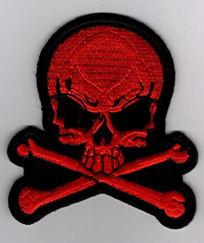 Red Skull and Cross Bones Biker Embroidered Sew or Iron-On Patch - 2.5x2.75 inch inch Shipped from USA
