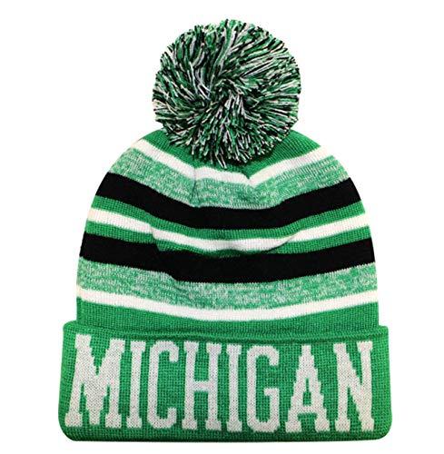 MICHIGAN BLEND POM POM WINTER BEANIE HAT - KELLY GREEN/WHITE SIZE : ONE SIZE FITS ALL UNISEX (Kelly Green Pom Pom Hat)