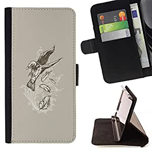 DEVIL CASE - FOR Samsung Galaxy S4 Mini i9190 - Flying Crow Raven Skeleton Goth - Style PU Leather Case Wallet Flip Stand Flap Closure Cover