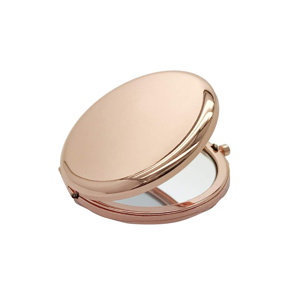 SuBoZhuLiuJ Portable Mini Makeup Mirror,Solid Color Metal Round Case Double-Side Pop-Up Pocket Makeup Mirror Rose Gold