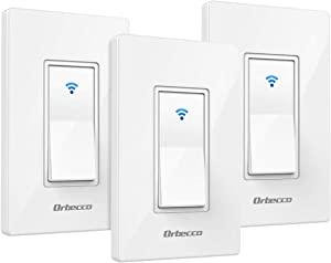 Orbecco Smart Light Switch, [3-Pack] App Remote Control Wi-Fi in-Wall Smart Switch Compatible with Alexa, Google Home & IFTTT, Neutral Wire Required, Easy Installation, Fit iOS Android Phones, White