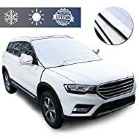 "Premium Car Windshield Snow Cover for Ice and Snow Large 53.8"" x44.5"" Waterproof Car Windshield Forst Cover Sun Shade for SUV, Vans, Truck Universal Cars"