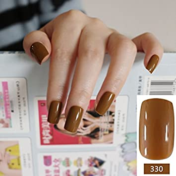 Amazon 24pcsset Cool Brown Curved False Nails Lady Chocolate