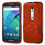 Moto X Pure Case, Cruzerlite Bugdroid Circuit Case Compatible for Motorola Moto X Pure - Retail Packaging - Orange