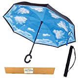 EvridWear Reverse Folding Double Layer Inverted Umbrella, UV Protection Self-Standing Umbrella with C-shaped Hands Free Handle (Blue Sky)