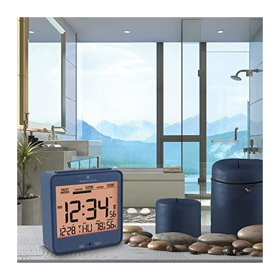 Marathon CL030054BL Atomic Desk Clock, with Backlight, Heat & Comfort Index - Batteries Included - HEAT & COMFORT INDEX: Choose between a convenient, easy to read comfort or heat index LARGE DISPLAY: The large, highly legible display features the time, day, date, temperature, humidity and either the comfort or heat index BACKLIGHT: Pressing the SNOOZE/LIGHT button triggers an amber backlight - clocks, bedroom-decor, bedroom - 51kiAjaatbL. SS570  -