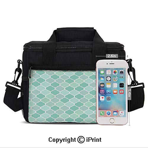 Insulated Lunch Bags For School With Bottle Holder Lined Endless Chained European Medieval Gradient Patterns Mosaic Ceramic Illustration Kids Lunch Box Snacks Tote Lunch Containers 3D Print -