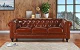 Cheap Divano Roma Furniture Classic Scroll Arm Real Leather Chesterfield Sofa (Light Brown)