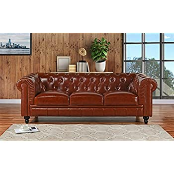 DIVANO ROMA FURNITURE Classic Scroll Arm Real Leather Chesterfield Sofa (Light Brown)
