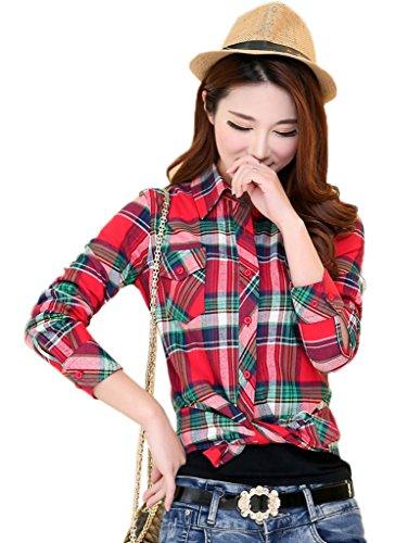 Ru Rouge Classique Longues Cotonnade Chemise Xiang Manches Carreaux Femme en Vert fdnpgWx