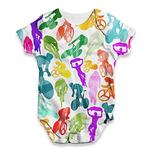 Twisted Envy Baby Unisex Cycling Rainbow Collage ALL-OVER PRINT Bodysuit Baby Grow Baby Romper 6 - 12 Months White