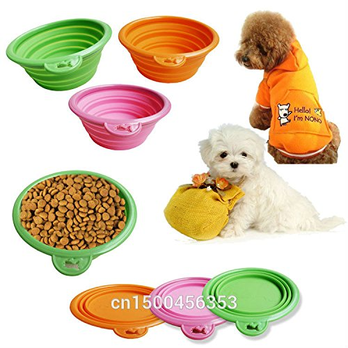 1pcs Foldable Portable Dog Bowl Cute Portable Silicone Collapsible Folding Pet Bowl Travel Cat Pet Bowl Feeding Water Food by Signature888 Home & Garden