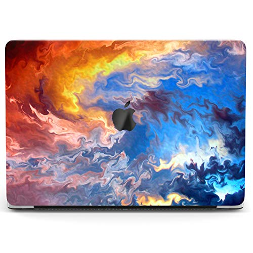 Wonder Wild Case For MacBook Air 13 inch Pro 15 2019 2018 Retina 12 11 Apple Hard Mac Protective Cover Touch Bar 2017 2016 2015 Plastic Laptop Print Colorful Sunset Sky Abstract Blue Art Painting Wave ()
