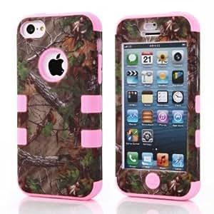 SHHR-HX5C36N Luxury 3 in 1 Tree Camo Design Hybrid case for iPhone 5C-Light Pink Silicone