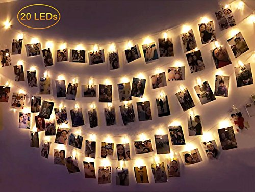 Dadiii 20 LED Photo Clip String Lights Christmas Lights for Hanging Photos, Pictures, Cards, Ideal Gift for Wedding, Party, Christmas Decoration, Powered by USB ( Warm Light )