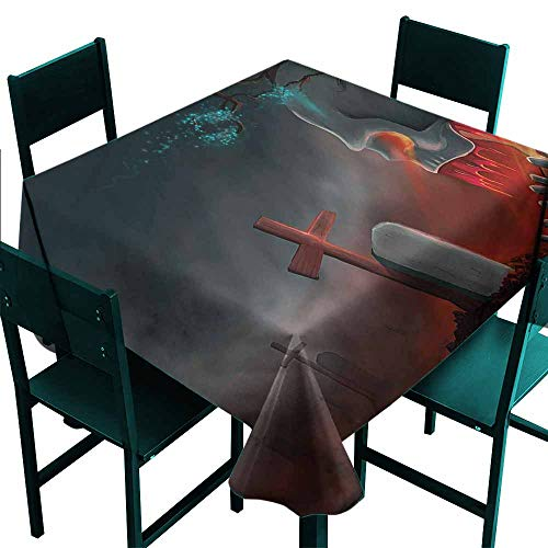 DONEECKL Dust-Proof Tablecloth Halloween Graveyard Cemetery Tree Easy to Clean W60 xL60]()