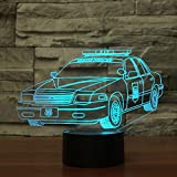 3D Police Car Night Light 7 Color Change LED Table Desk Lamp Acrylic Flat ABS Base USB Charger Home...