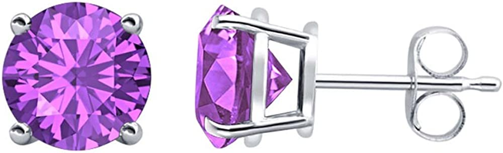 Solitaire Stud Earrings 14K White Gold Over .925 Sterling Silver tusakha 4.20 CT Round Cut Amethyst 9MM