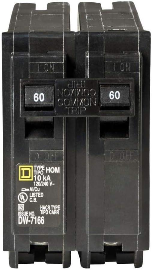 Square D HOM260 Plug-In Circuit Breaker, 60 Amp, 2-Pole