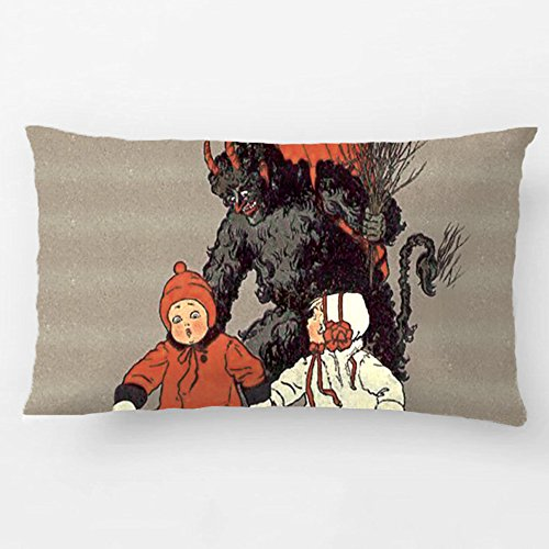 ALEX Throw Pillow Case Decorative Cushion Cover Cotton Polyester Sofa Chair Seat Rectangle Pillowcase Design With Krampus Chasing Children Switch Pad Custom Pillow Cover Sized 12X20 Inches (Car Seat Covers The Beatles compare prices)