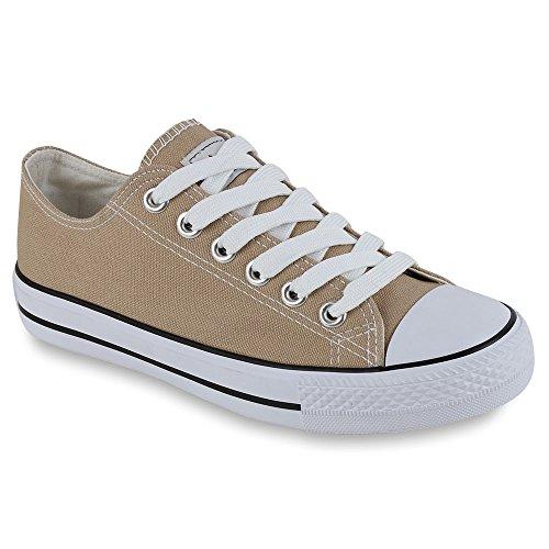 Flandell Damen Stiefelparadies Unisex Übergrößen Sneaker Low Basic Khaki Herren ZnqYR4w