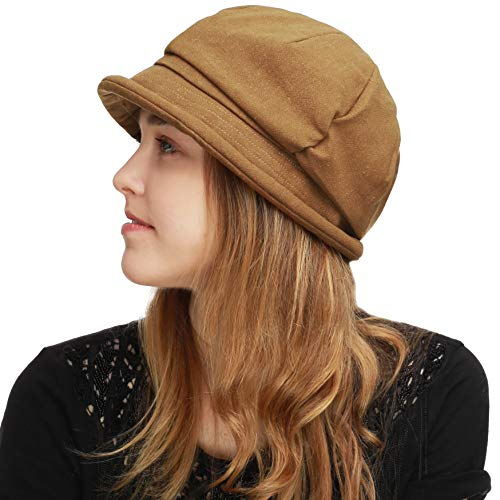 BLACK HORN Womens Newsboy Cabbie Beret Cap Cloche Visor Hats (Linen/Cotton- Tan)