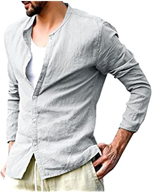 Mens Casual Button Down Shirts Cotton Crewneck Long Sleeve Regular Shirt