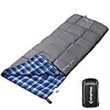 KingCamp Sleeping Bag Envelope Comfort Lightweight Portable 4 Season Warm Cool Weather Adult Easy Compress with Compression Sack for Camping Hiking 44.6F/7C
