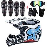Adulto casco de Motocross hombre mujer fuera de la carretera DOT al aire libre cara completa mx Dirt moto motocicleta ATV casco (gratis 5 juego de piezas: gafas, máscara, guantes, rodilleras, almohadillas de codo)