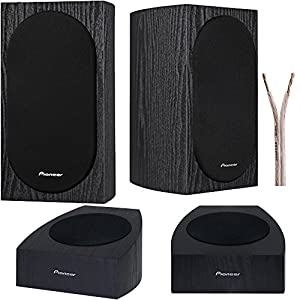 "Pioneer Speaker Bundle 4"" 2-Way Bookshelf Speakers + Add-on Speakers Designed By Andrew Jones for Dolby Atmos PLUS 100ft Speaker Wire"