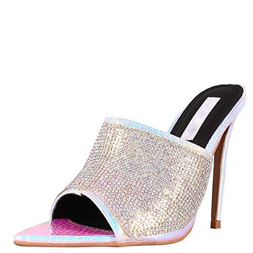 CAPE ROBBIN Womens Pointy Toe Rhinestone Mules Pump Sandals Stiletto High Heel Shoes 10 Iridescent