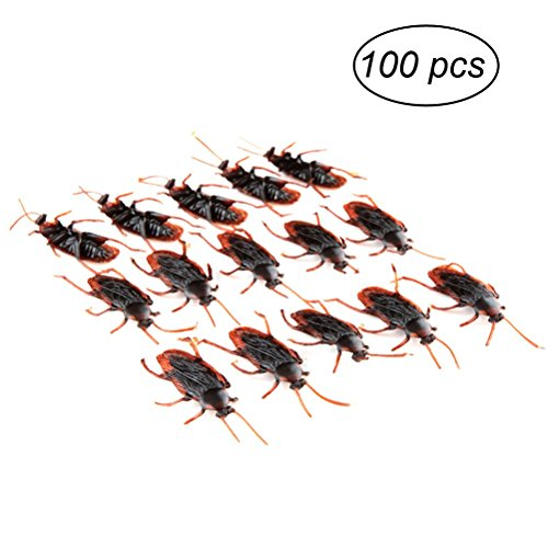 TINKSKY Fake Roach Prank Novelty Plastic Cockroach Bugs Look Real for Halloween April Fool 's Day children's party Decoration 100-pack