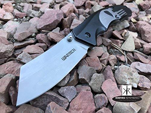 Monogram Knife, Custom Knives, Pocket Knife, Hunting Knife, Personalized Knife, Engraved Knives, Cleaver Folding Knife, Razor Blade, Punisher Skull - Hunting Engraved Knives