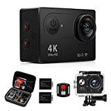 Action Camera, 4K WiFi Ultra HD 16MP Waterproof Sport Camera 2 Inch LCD Screen 12MP 170 Degree Wide Angle 2 Rechargeable Batteries Free Travel Bag Include Accessories Kits